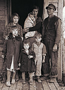The New Deal Framed Prints - Great Depression Iowa Farm Family  1936 Framed Print by Daniel Hagerman