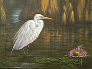 Great Painting Originals - Great Egret by Delores Haberkorn