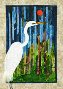 Fusing Tapestries - Textiles Framed Prints - Great Egret Framed Print by Jean Baardsen