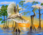 Fauna Painting Metal Prints - Great Egret Metal Print by Phyllis Beiser