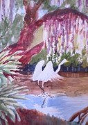 Great Painting Originals - Great Egret Taking Off by Johanna Engel