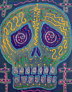 Sugar Skull Posters - Great Electric Skull Poster by Laura Barbosa