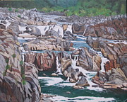 Great Painting Originals - Great Falls 1 by Hilda and Jose Garrancho