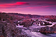 Great Falls Park Posters - Great Falls in Twilight Poster by Rick Barnard