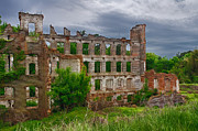 Kudzu Framed Prints - Great Falls Mill Ruins Framed Print by Priscilla Burgers