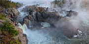 Gushing Water Framed Prints - Great Falls Panoramic Framed Print by Bernard Chen