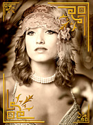 Portraiture Digital Art Metal Prints - Great Gatsby Inspiration Metal Print by Donald Davis