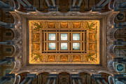 Hall Photo Framed Prints - Great Hall Ceiling Library Of Congress Framed Print by Steve Gadomski