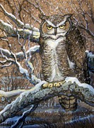 Great Painting Originals - Great Horned Owl Another Storm by Anne Shoemaker-Magdaleno