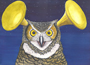 Trumpet Paintings - Great Horned Owl by Catherine G McElroy