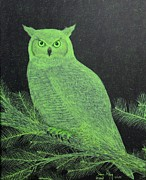 Great-horned Owls Paintings - Great Horned Owl by Doug Miller
