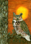 Acrylic Polymer Clay Prints - Great Horned Owl Print by Jean Baardsen
