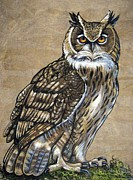 Amate Bark Paper Prints - Great Horned Owl on Mossy Limb Print by Anne Shoemaker-Magdaleno