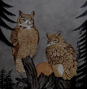 Great-horned Owls Paintings - Great Horned Owls on Watch by Sandra Maddox