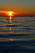 Reflecting Sunset Posters - Great Lake Sunset Poster by Michelle Calkins