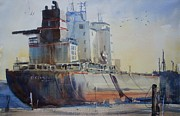 Great Lakes Ship Paintings - Great lakes Freighter by Gord  Jones