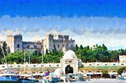Great Outdoors Paintings - Great Magister Castle of Rhodes painting by Magomed Magomedagaev