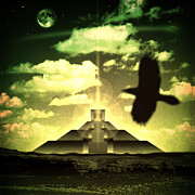 Dreamscape Mixed Media Metal Prints - Great Mayan Dream Metal Print by Milton Thompson