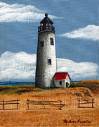 Cape Cod Lighthouse Paintings - Great Point Lighthouse by Melena Paradee