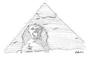 Pyramid Drawings - Great Pyramid Sphinx Study by Calvin Durham