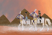 Horse Riding Digital Art - Great Pyramids and Nobility by Corey Ford