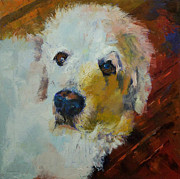 Abstract Dogs Paintings - Great Pyrenees by Michael Creese