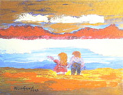 Great Painting Originals - Great Salt Lake Utah and Children by Richard W Linford