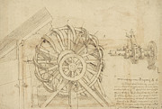 Engineering Drawings Prints - Great sling rotating on horizontal plane great wheel and crossbows devices from Atlantic Codex Print by Leonardo Da Vinci