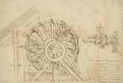 Great Sling Rotating On Horizontal Plane Great Wheel And Crossbows Devices From Atlantic Codex Print by Leonardo Da Vinci