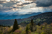 Crepuscular Rays Posters - Great Smoky Mountains Light - Blue Ridge Parkway Landscape Poster by Dave Allen