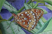 Great Painting Originals - Great Spangled Fritillary by Freda Nichols