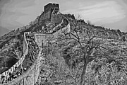 Great Wall Posters - Great Wall of China - Black and White Poster by Russ Harris
