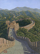 Landscape Greeting Card Painting Originals - Great Wall of China Mutianyu Section by Richard Harpum