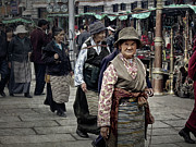 Tibet Prints - Great Weathered Faces Print by Joan Carroll