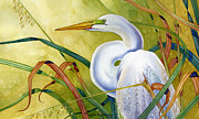 Egrets Paintings - Great White Heron by Lyse Anthony