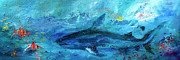Great White Shark Coral Reef Ocean Life Print by Ginette Fine Art LLC Ginette Callaway