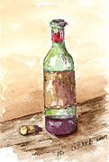 Bright Appearance Painting Prints - Great Wine Time Print by Barbara Wirth