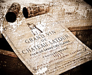 Retro Mixed Media Posters - Great Wines Of Bordeaux - Chateau Latour 1955 Poster by Frank Tschakert