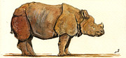 One Horned Rhino Painting Prints - Greated one horned rhinoceros Print by Juan  Bosco