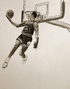 Jordan Drawings Originals - Greatest of All time by Michael Cross