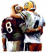 Works Drawings Prints - Greatness  Brett Favre and Steve Young  Print by Iconic Images Art Gallery David Pucciarelli