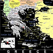 Greece Mixed Media Posters - Greece Exotic Map Poster by Florene Welebny