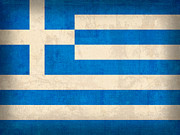 Distressed Mixed Media Posters - Greece Flag Vintage Distressed Finish Poster by Design Turnpike