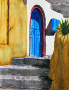 Greece Watercolor Paintings - Greece in orange by Marisa Gabetta