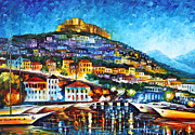 Town Pier Framed Prints - Greece Lesbos Island 2 Framed Print by Leonid Afremov