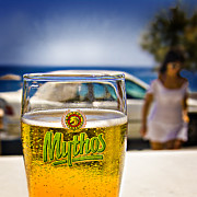 Greece  Posters - Greek Beer Goggles Poster by Meirion Matthias