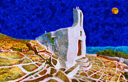 Sea Moon Full Moon Painting Metal Prints - Greek Church 5 Metal Print by George Rossidis