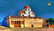 Sea Moon Full Moon Framed Prints - Greek Church 7 Framed Print by George Rossidis