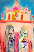 Greece Watercolor Paintings - Greek Church Bells by Myrna Williams aka MERNIE BAKER