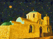 Starry Reflections Framed Prints - Greek church Framed Print by George Rossidis